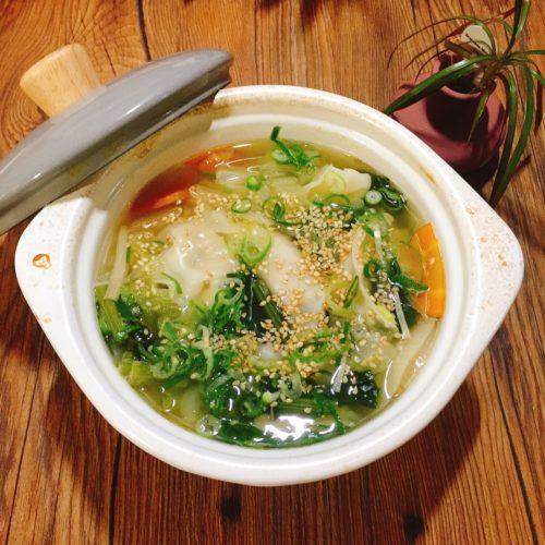 冷凍餃子のスープ