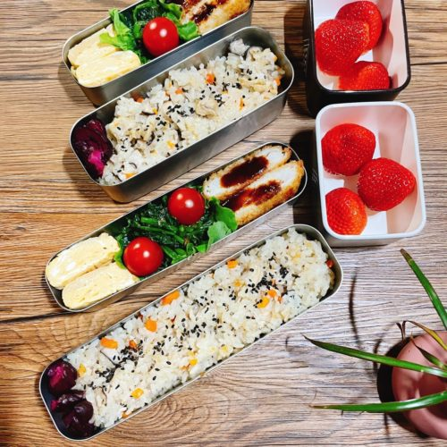 サーモスフレッシュランチボックス2段式の炊き込みご飯お弁当