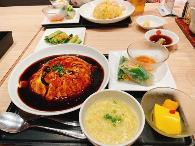 黒酢の天津飯のセット